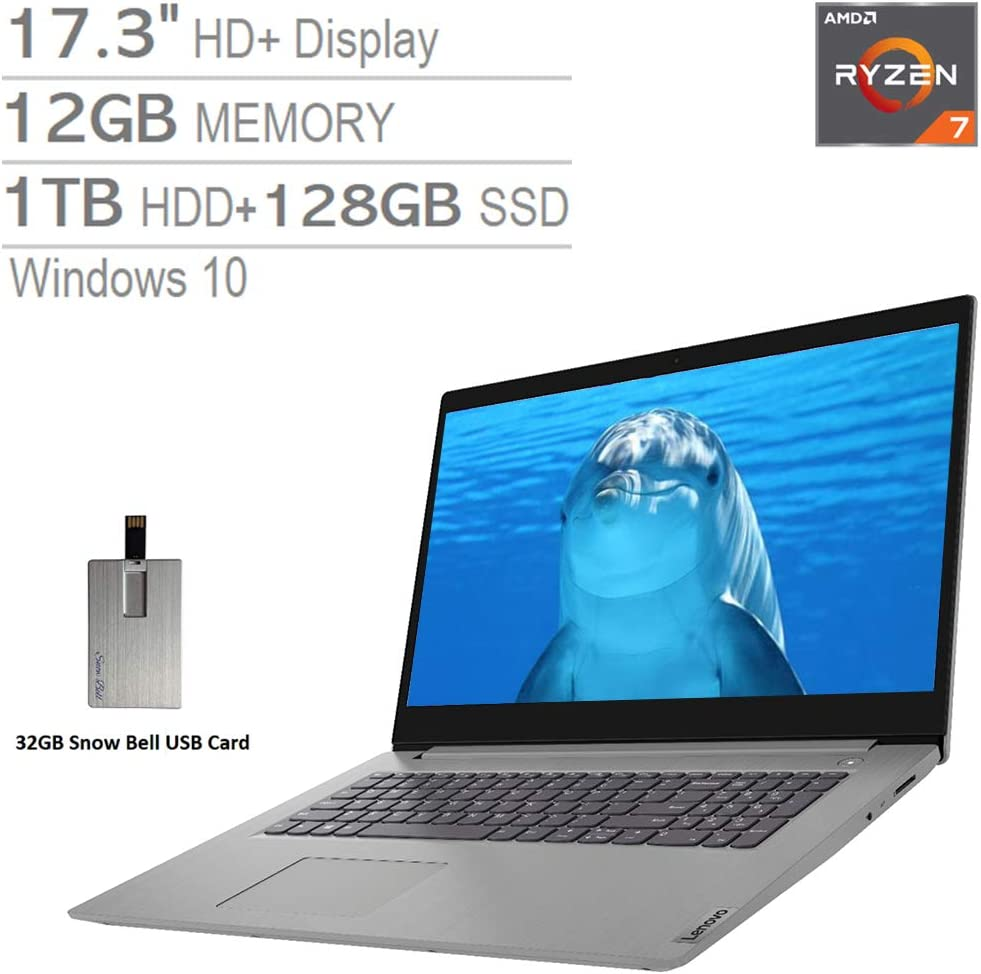 "2020 Lenovo IdeaPad 3 17.3"" HD+ Laptop Computer, AMD Ryzen 7-3700U Processor, 12GB RAM, 1TB HDD+128GB SSD, AMD Radeon Vega 10 Graphics, Dolby Audio, HD Webcam, Windows 10, Grey, 32GB SnowBell USB Card"