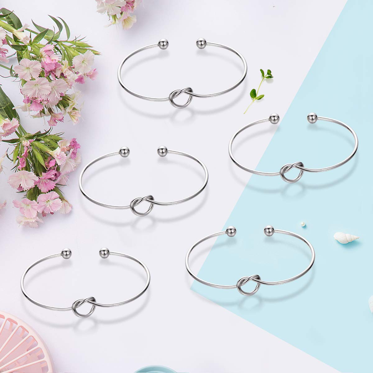 Ikooo Bridesmaid Bracelets 5 pcs Love Knot Open Bangle Bride Tribe Hair tie Best Friend, BFF The Bride Wedding Gift (5 Silver Black Hair tie) by Ikooo (Image #4)