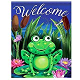ALAZA Night Green Frog Welcome Funny Small Mini Garden Yard Flag 12'' x 18'' Double Sided, Butterfly Dragonfly Lotus Flowers Summer Spring Decorative Garden Flag Banner for Outdoor Home Decor Party
