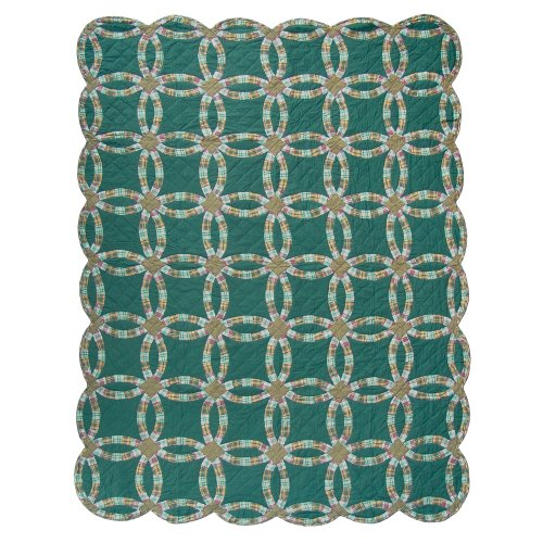 Patch Magic Twin Green Double Wedding Ring Quilt, 65-Inch...