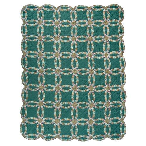 Patch Magic Twin Green Double Wedding Ring Quilt, 65-Inch by 85-Inch (Patch Magic Twin Quilts compare prices)