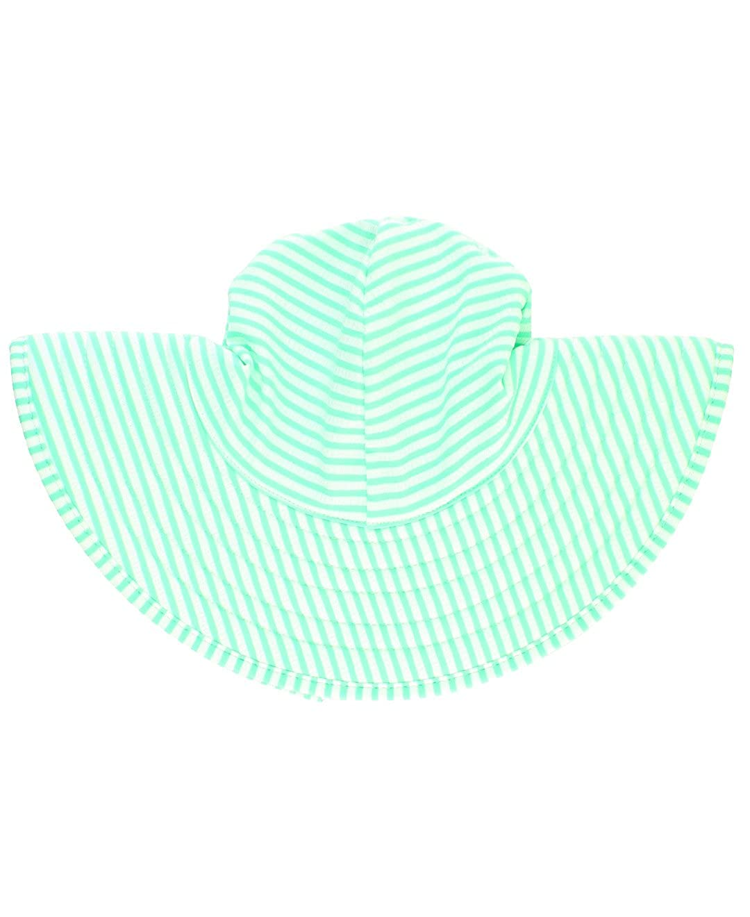 RuffleButts Little Girls UPF 50 Sun Protective Wide Brim Seersucker Swim Hat