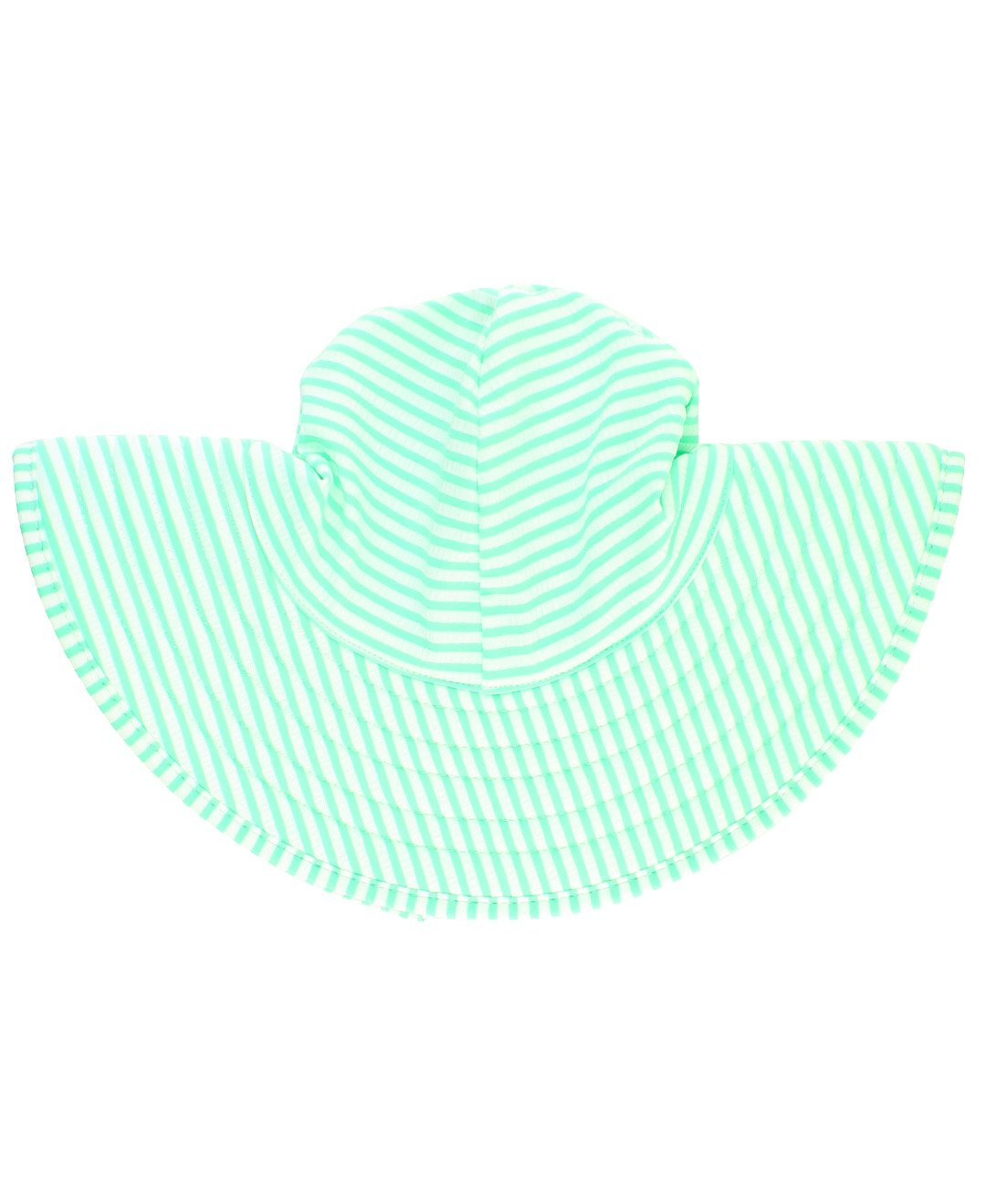 RuffleButts Little Girls Mint Seersucker Swim Hat - 0-12m