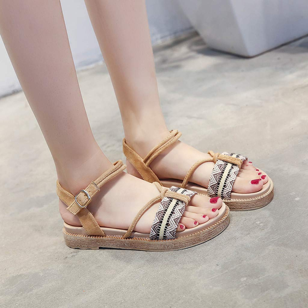 Copercn Womens Ladies Ethnic Style Pattern Open Toe Insert Rope Ankle Buckle Strap Thick Bottom Flat Sandals Summer Outdoor Casual Sandals