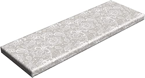 Lunarable Paisley Bench Pad, Monochrome Little Hearts and Flower Pattern Soft Tones Swirls Print, Standard Size HR Foam Cushion with Decorative Fabric Cover, 45 x 15 x 2 , Silver White