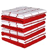AMOUR INFINI Cotton Terry Kitchen Dish Cloths   Set of 8   12 x 12 Inches   Super Soft and Absorbent  100% Cotton Dish Rags   Perfect for Household and Commercial Uses   Red