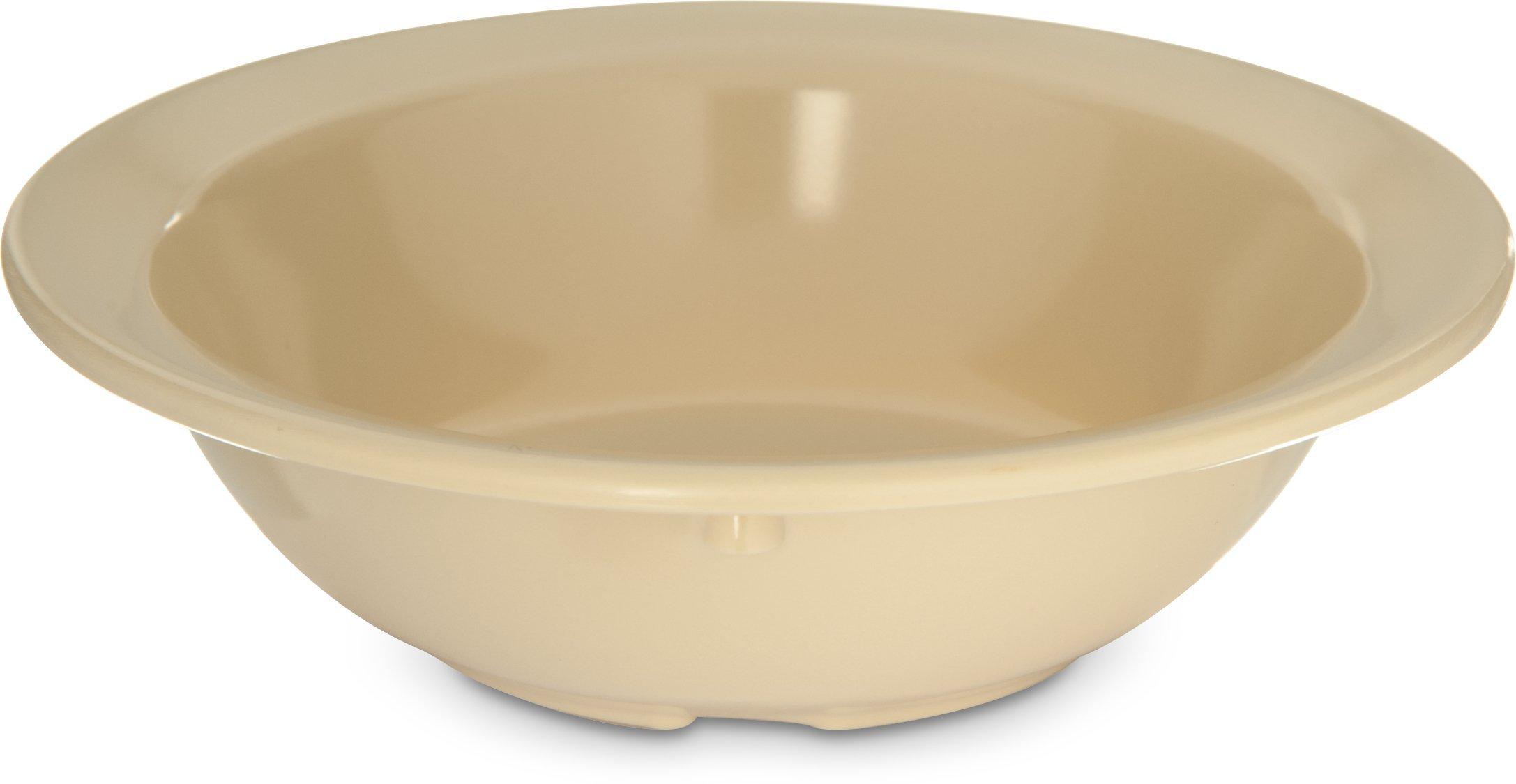 Carlisle 4353125 Dallas Ware Melamine Fruit Bowl, 4.70 fl. oz. Capacity, 4-39/64'' Dia. x 1.28'' H, Tan (Case of 48)