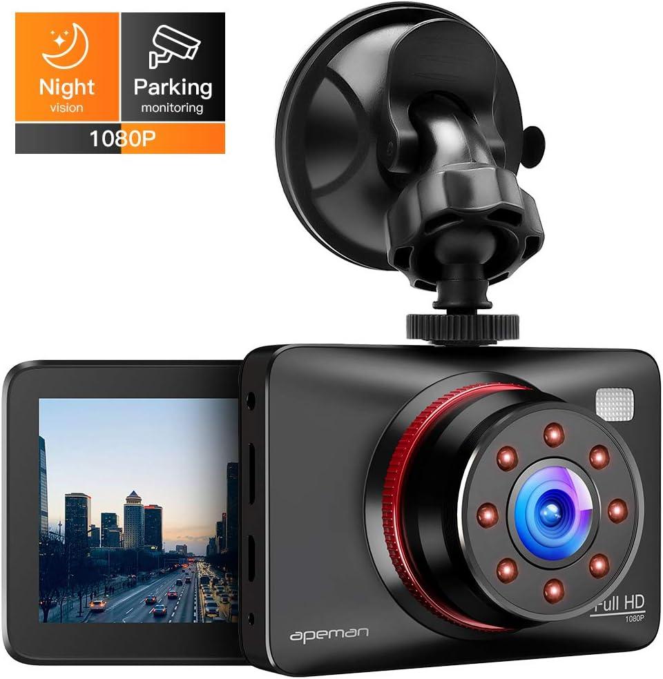 APEMAN Cam/éra embarqu/ée pour Voiture Full HD 1080P avec Grand Angle 170/° Fonction Infrarouge WDR Montage Parking Enregistrement de Loop Vision Nocturne et capteur G d/étection de Mouvement