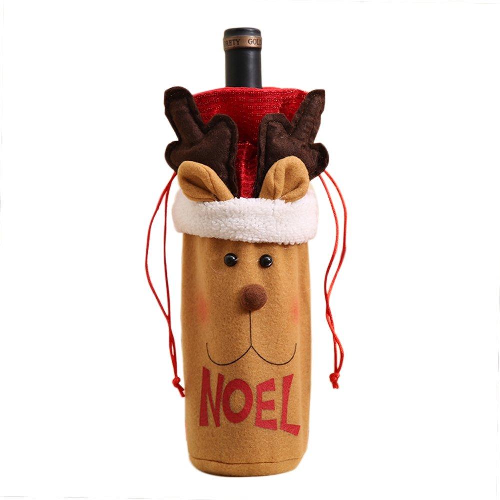 blaward muñeco de nieve Elk y Santa Claus para botella de vino, diseño de decoraciones de mesa, bolsa para botella de vino de Navidad decoración de Navidad ...