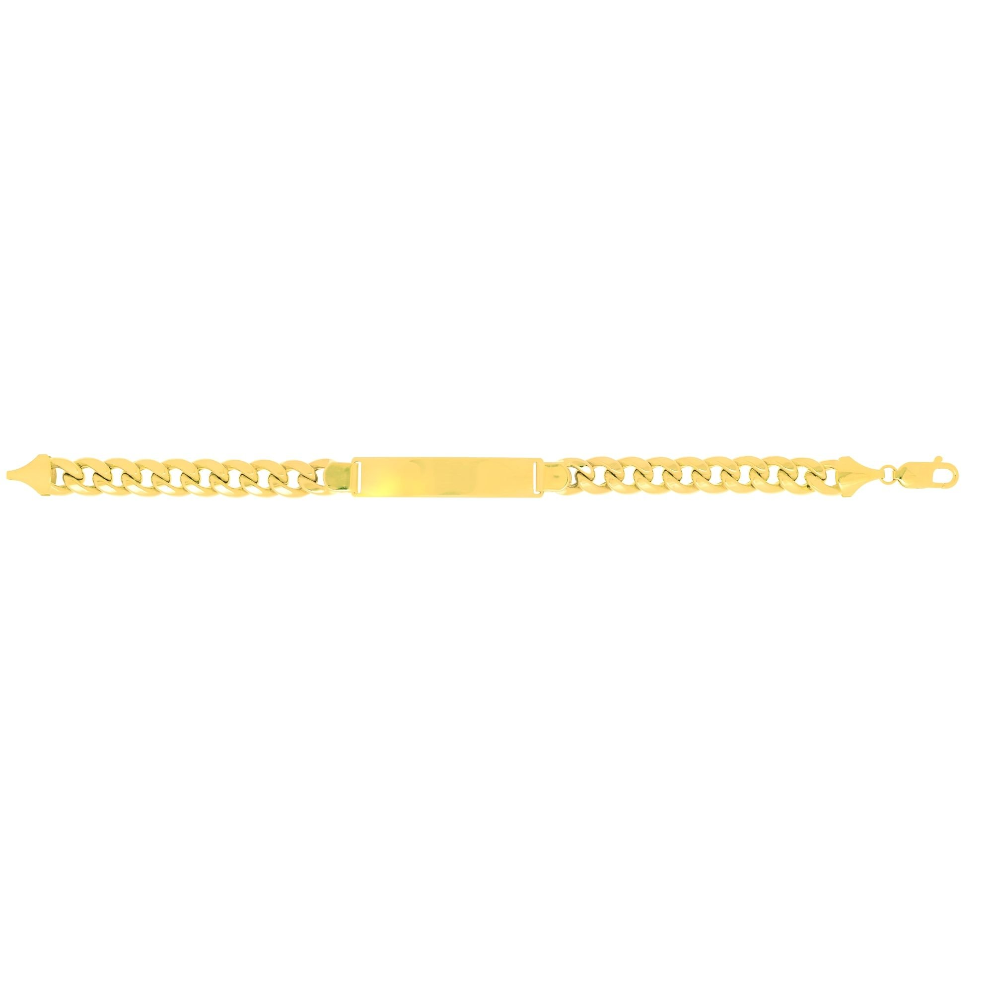BH 5 Star Jewelry 14k 8.5'' Yellow Gold 9.2mm Lite Miami Cuban Link ID-Bracelet with Lobster Clasp