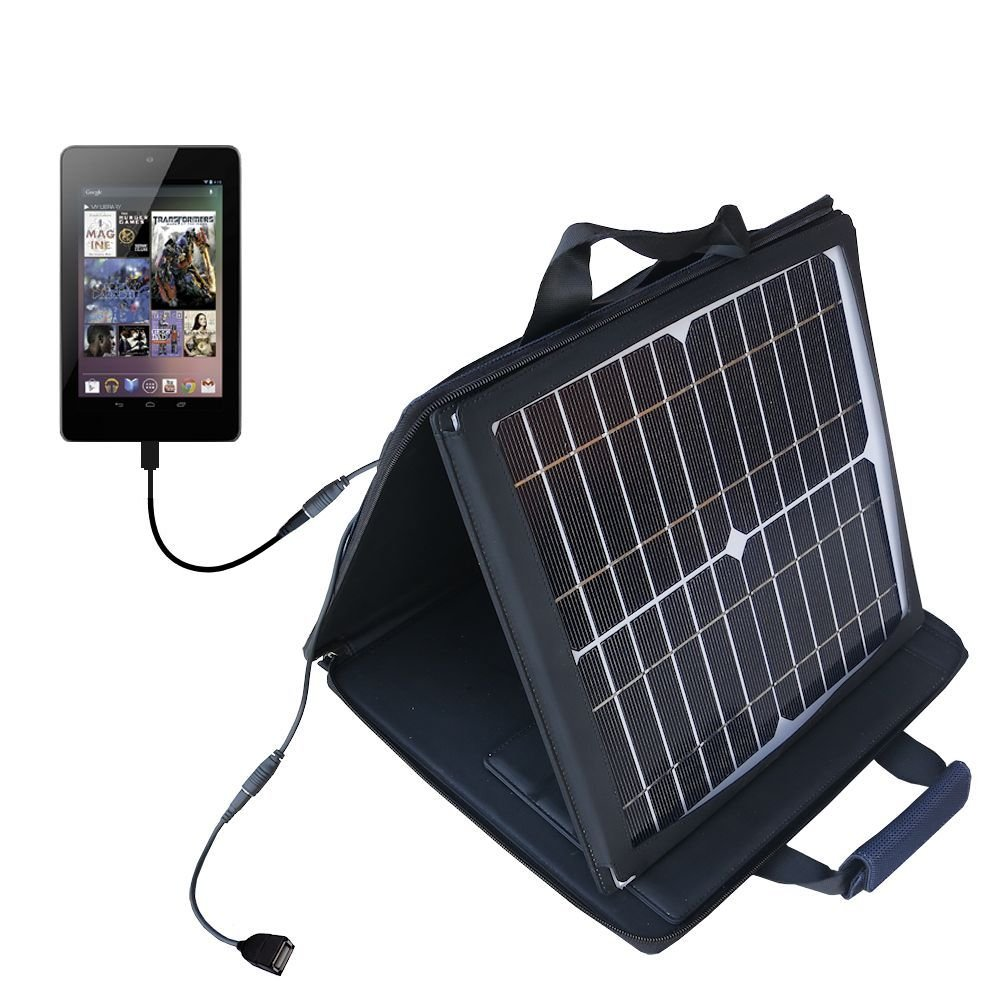 Gomadic SunVolt Powerful and Portable Solar Charger suitable for the Google Nexus 7 - Incredible charge speeds for up to two devices