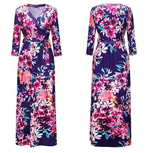Dresses 1303 Dress Lyq Printed Womens Long Sleeve AISKLY Belt Belted Sx5f44aq