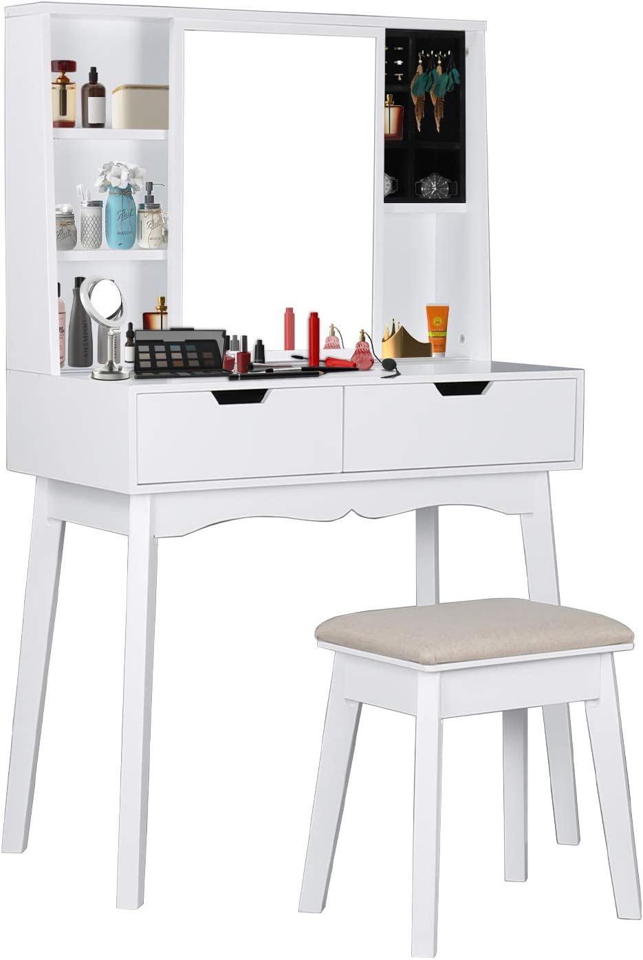 COZUHAUSE White Vanity Table Set with Movable Mirror, Jewelry Cabinet, Detachable Jewelry Storage Box, Cushioning Stool, 2 Drawer Dressing Table White