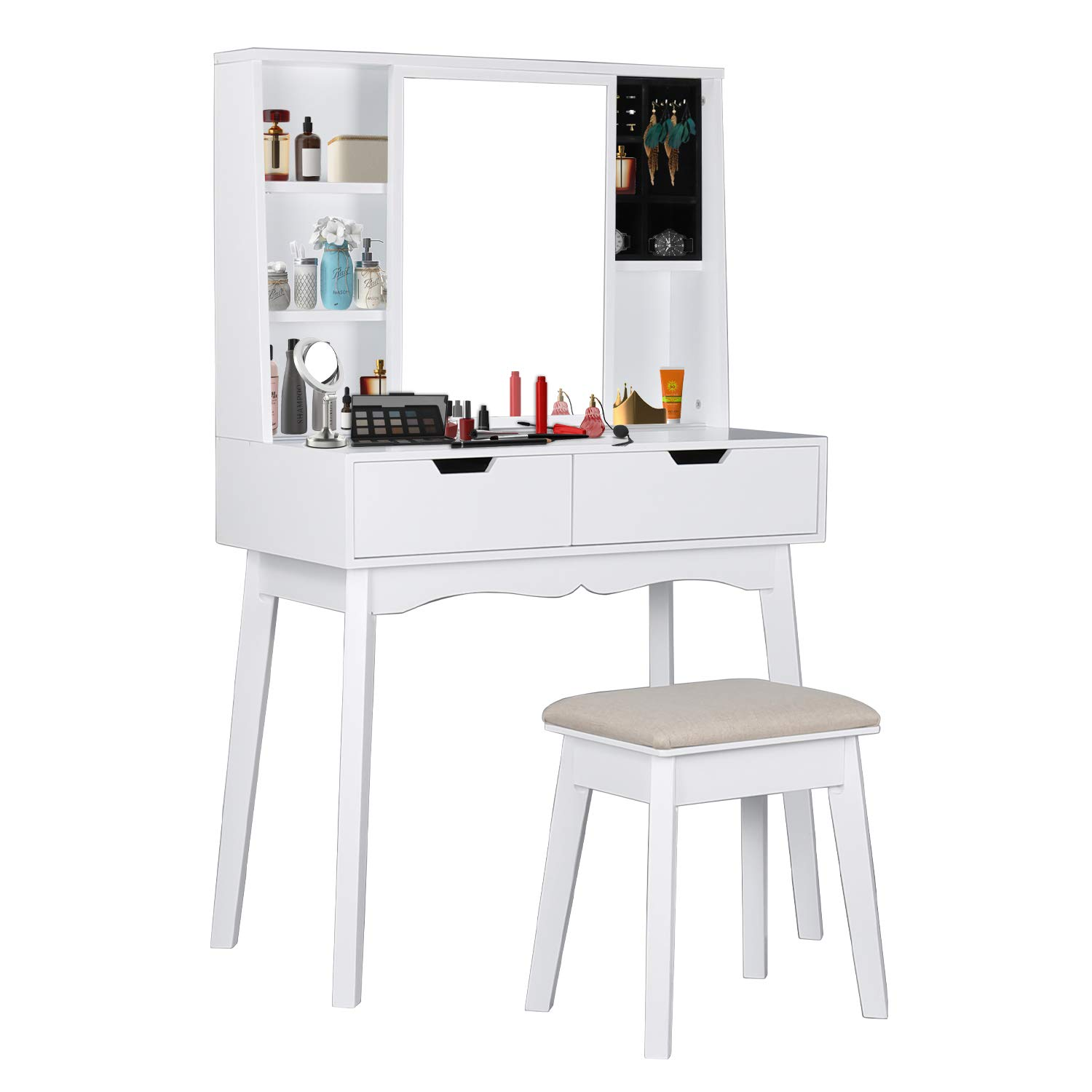 COZUHAUSE Vanity Table Set with Movable Mirror, Jewelry Cabinet/Jewelry Wardrobe, Detachable Jewelry Storage Box, Cushioning Stool, 2 Drawer Dressing Table (White)