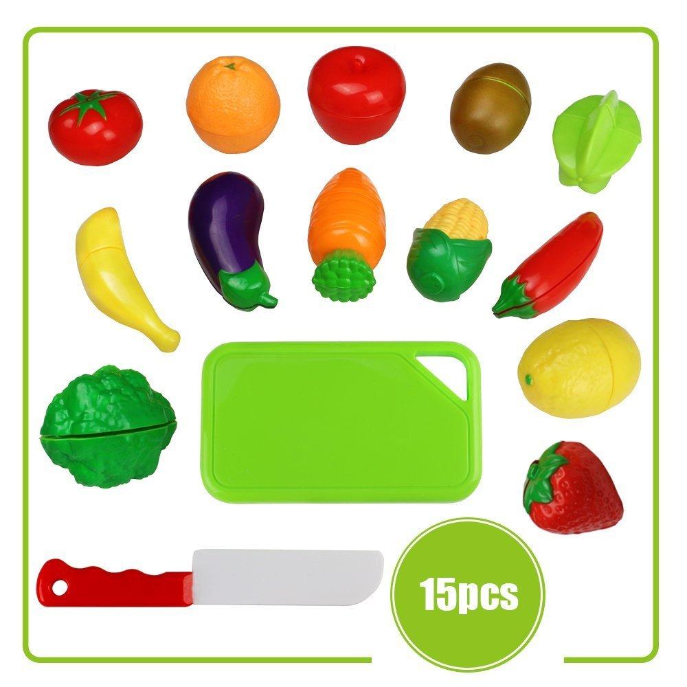TONZE Frutas y Verduras Juguete para Cortar Cocina Juguete de Plástico Comida de Juguete para Cocinar Set de Alimentos rol Juego Corte Juguete para ...