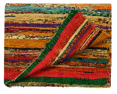 (Fair Trade Handmade Rag Rug Chindi Rug Multi Colored Indian Mat Recycled Rug Boho Decorative Rug(5ftx3ft) (Yellow))