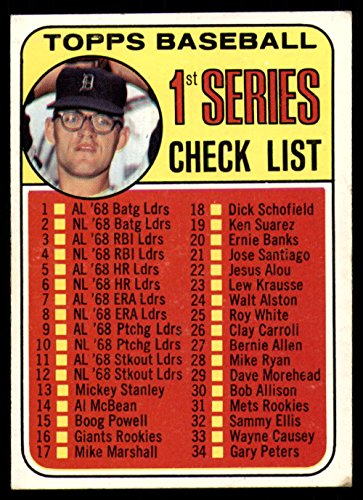 1969 Topps # 57 xCLR Checklist 1 Denny McLain (Baseball Card) (Collar Not Visible & Dot After S in USA is Present) Dean's Cards 5 - EX