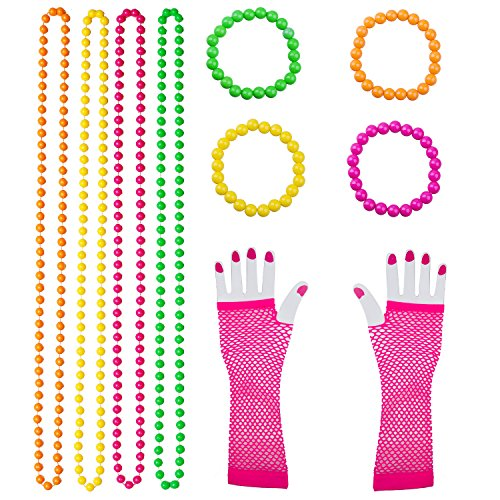 Coobey 10 Pieces Plastic Neon Bead Necklaces Neon Bracelets Long Fishnet Gloves Set 80s Party Dress Accessories, Multicolour for $<!--$7.98-->