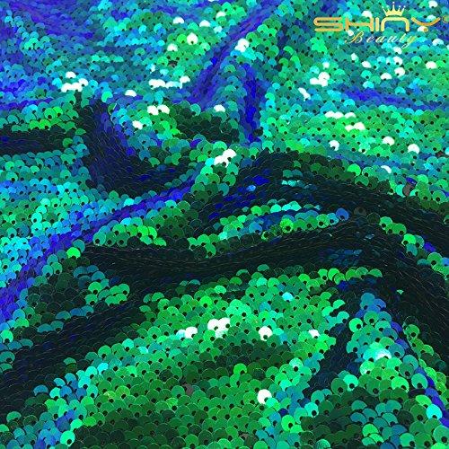 マーメイドスパンコール--スパンコールドラゴンスケールFabric by the yard 1 Yard グリーン Sequin Fabric Two Tone Greenの商品画像