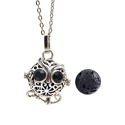 34f6653be3506d GraceAngie Antique Silver Owl Diffuser Locket Pendant Necklace Aromatherapy  Essential Oil Cage Locket with Lava Beads: Amazon.ca: Jewelry