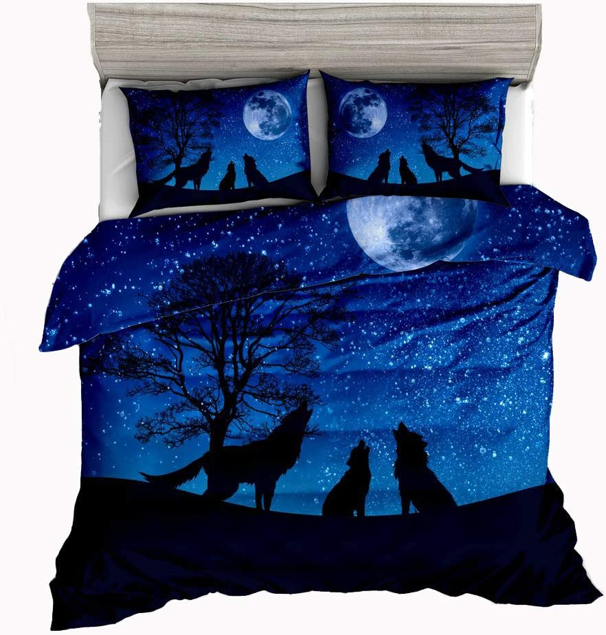 Jwellking Wolf Bedding Sets for Kids,3 Piece Twin Size Duvet Cover Set,with Hide Zipper,1 Duvet Cover+2 Pillow Shams