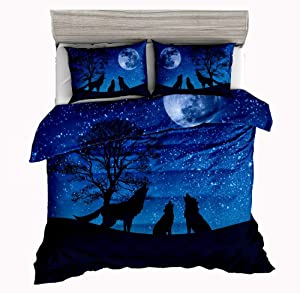 Jwellking Wolf Bedding Sets for Kids,3 Piece Queen Size Duvet Cover Set,with Hide Zipper,1 Duvet Cover+2 Pillow Shams