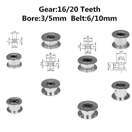 WNJ-Tool, Impresora 3D 1PC Accesorios GT2 16/20 Dientes Correa de ...