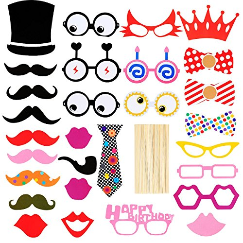 LeeSky 31 Pieces Photo Booth Props Party Favor for Wedding Party Graduation Birthdays Dress-up Accessories Costumes with Mustache,Hats,Glasses,Crown,Lips,Bowties on Sticks