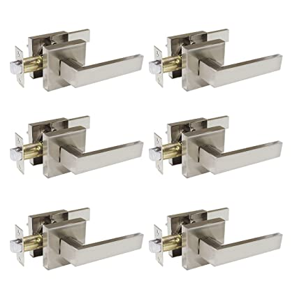 Probrico Square Passage Door Lever Set Keyless Interior Door Handles Lock Brushed  Nickel Finish, 6