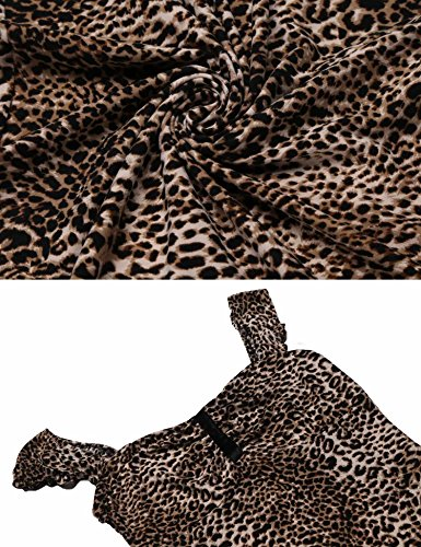 Frauen Kleid Casual Hüfte Paket Pagacat Leopard Kurzarm Kragen Muster Schlank Bodycon Square O1cwdA
