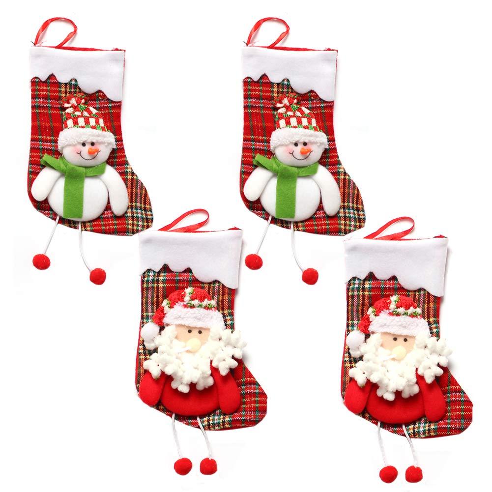 4 Pezzi INTVN Christmas Stockings Sacchetti di Caramelle Regalo per Albero di Natale Festa di Natale Decorazioni Calza di Natale Babbo Natale /& Pupazzo