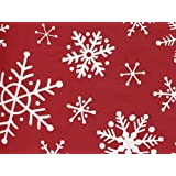 Red White Snowflake Flurry Holiday Wrap Wrapping Paper - 16 Foot Roll