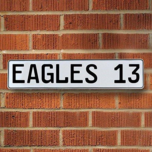 Vintage Parts 336790 Eagles 13 NFL Philadelphia Eagles White Stamped Street Sign Mancave Wall Art, 1 Pack (Eagle Street Sign)