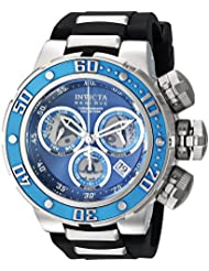 Invicta Mens Reserve Quartz Stainless Steel and Silicone Casual Watch, Color:Black (Model: 21643)