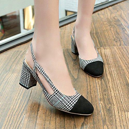 Yalanshop Sandales Chaussures à talons hauts avec une seule en-têtes de paquets Bold romain Chaussures Spell Couleur, gris 35