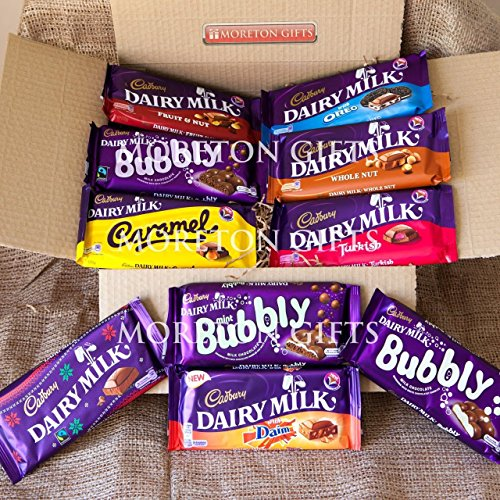 British Cadbury 10 Chocolate Bar Extravaganza Treat Box From UK By Moreton Gifts
