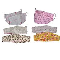 Dalay-Cubrebocas de dama, paquete de 6 piezas, en tela, lavable, reversible, con filtro de seguridad armado en tres capas.