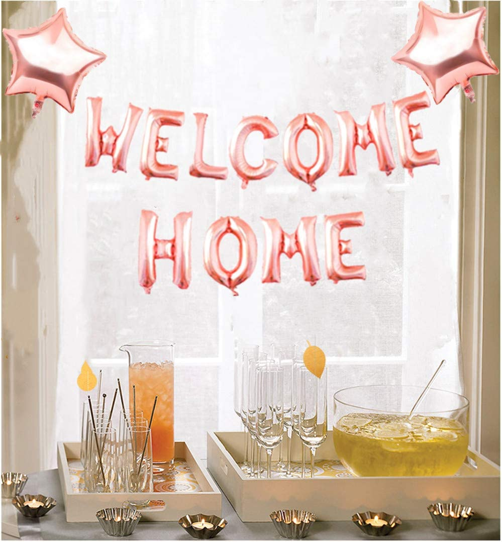 Letter Balloon Banner Bunting Happy New Home with Star Sequin Balloons for Home Family Party Decorations Mannli Welcome Home Rose Gold