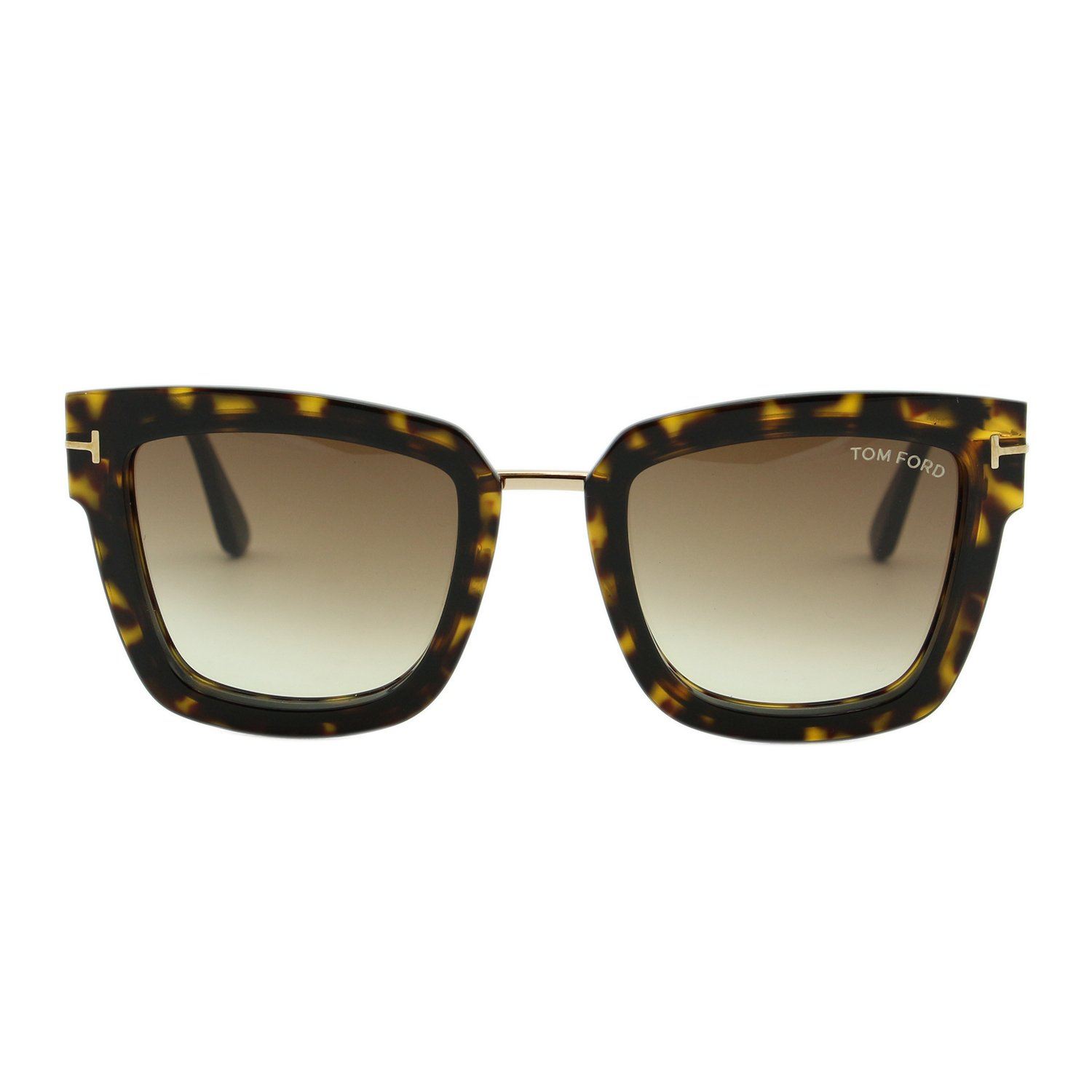a26cca051f 2018 Tom Ford Lara-02 FT0573 Women Dark Havana   Gold Square T Logo  Sunglasses at Amazon Men s Clothing store