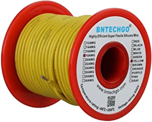 BNTECHGO 18 Gauge Silicone wire spool 100 ft Yellow Flexible 18 AWG Stranded Tinned Copper Wire