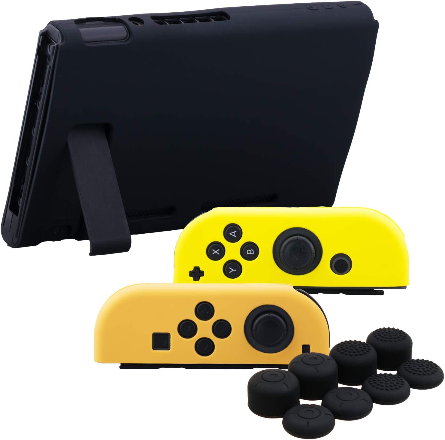 YoRHa Hand Grip Silicone Cover Skin Case for Switch/NS/NX Joy-Con Controller and Tablet (Orange Yellow Black) with Joy-Con Thumb Grips x 8