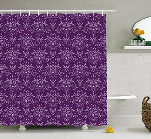 Eggplant Shower Curtain by Ambesonne, Damask Pattern with Symmetrical Abstract Leaves and Swirls Forming Unified Look, Fabric Bathroom Decor Set with Hooks, 70 Inches, Purple Lilac