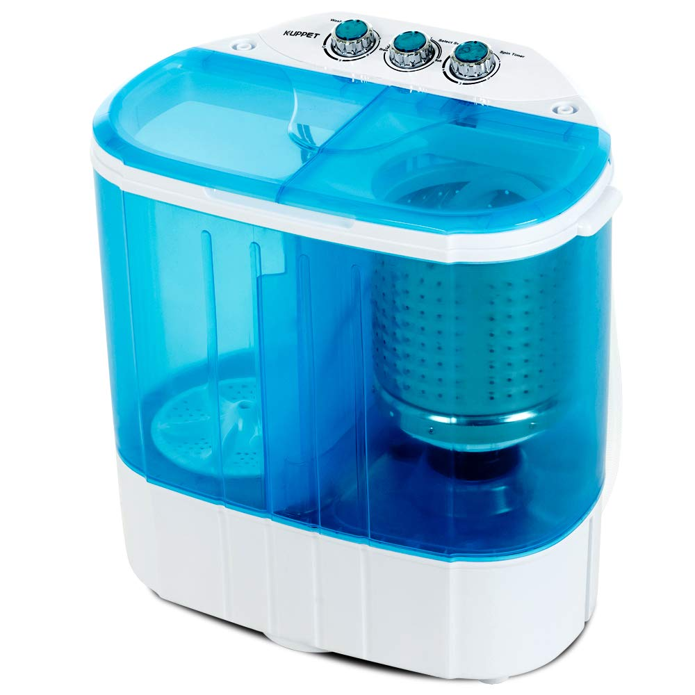 Portable Washing Machine, Kuppet 10lbs Compact Mini Washer, Wash&Spin Twin Tub Durable Design to Wash All your Laundry or Swim Suit for Apartments, Dorms, RV Camping (Blue) by KUPPET