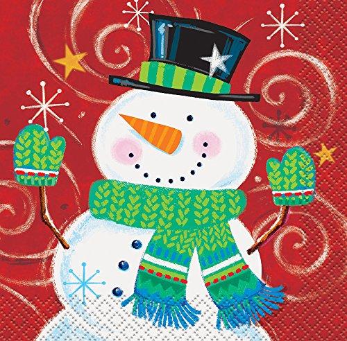 Snowman Swirl Holiday Beverage Napkins, 16ct