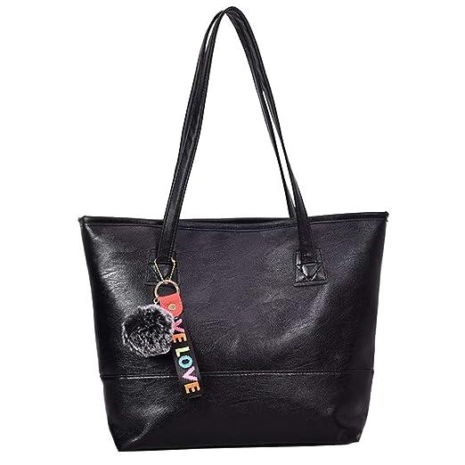 Amazon.com: Vintgae Hand Bag Hurrybuy Women Hairball Zipper Tote Leather Shoulder Bag: Clothing
