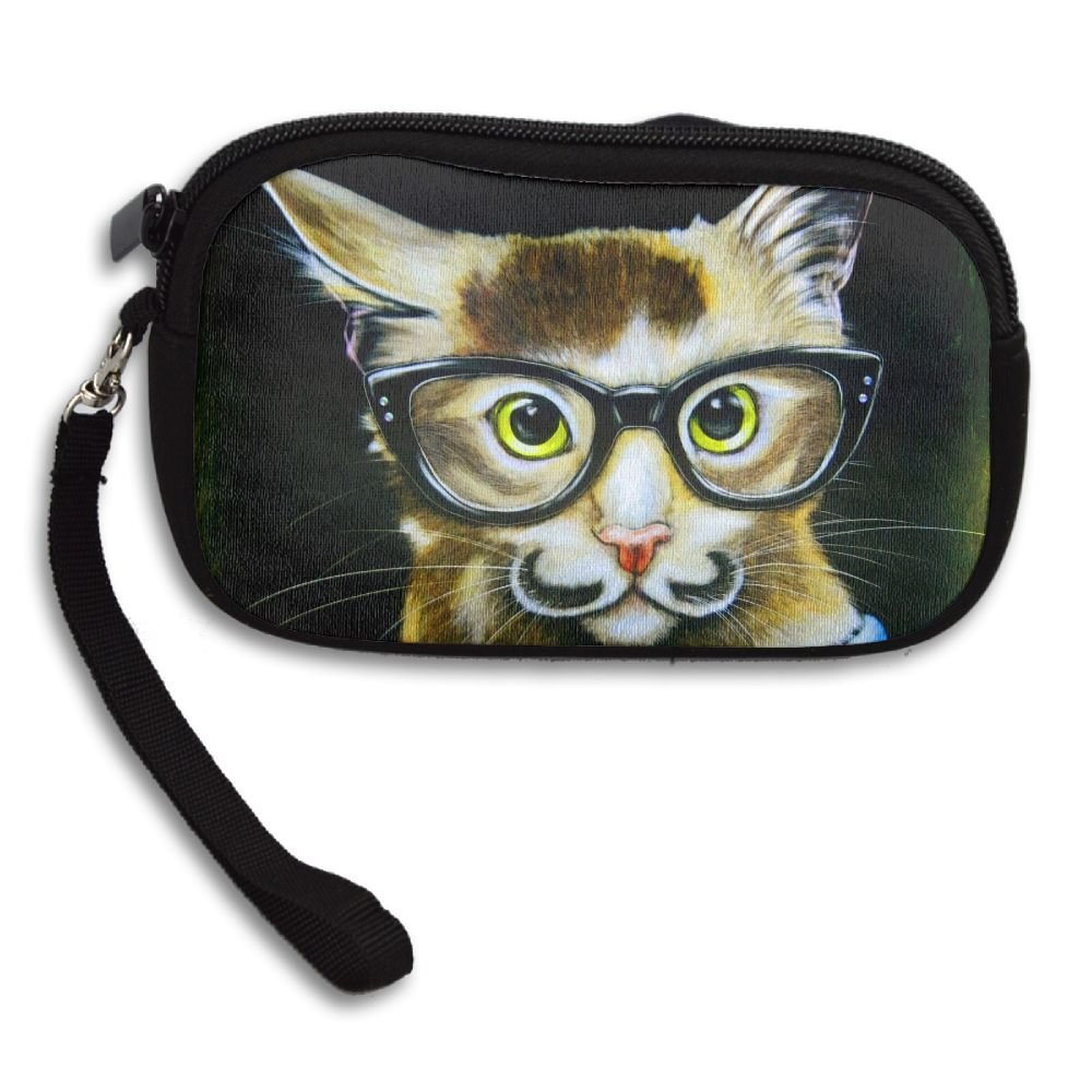 Womens Small Wallet Animal Cat With Glasses Portraits Zipper Card Purse Phone Case Holder Wallets With Chain Mini Coin Pouch