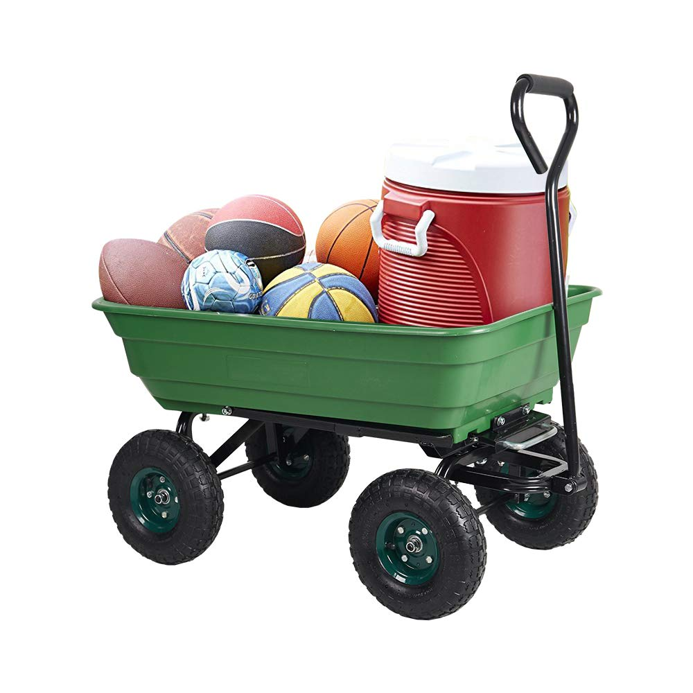 Dporticus Garden Dump Cart Wagon Carrier Steel Frame Pneumatic Tires 550-Pound Capacity Green