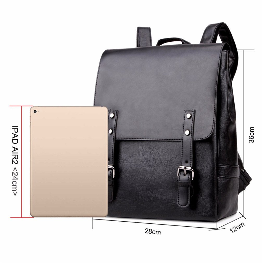 343aa7b887f0 Amazon.com  UKXMNC Casual Leather Backpack With Magnetic Buckle Famous Large  Capacity Man Backpack Travel Bags Black Backpack black  Sports   Outdoors