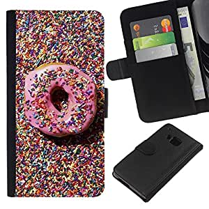 iBinBang / Flip Funda de Cuero Case Cover - Candy Pink Sweet Pastry Homer - HTC One M9