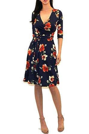 3c7538f40a43e Vivicastle Women s Printed V-Neck 3 4 Sleeve Faux Wrap Waist Tie Midi Dress